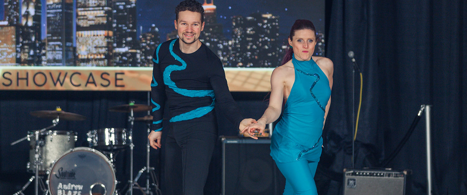 Philippe & Flore Berne perform during the Showcase competition at the 2018 Chicago Classic.